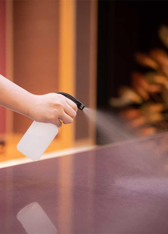 抗ウイルス除菌製剤等での清掃を実践